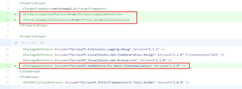 Precompiling MVC Views in ASP NET Core with  csproj's